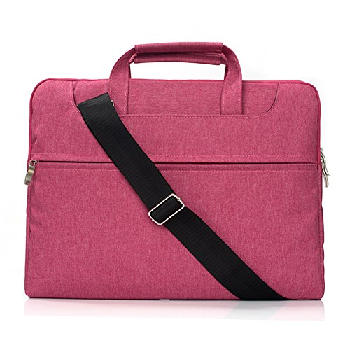 Hulorry MacBook Case 15 inch with Handle,Laptop Sleeve Case Shoulder Bag Portable Messenger Bag Fabric Water-proof Protective Bag for 15-15.4 Inch Laptop, Notebook, MacBook Air/Pro,Hot Pink