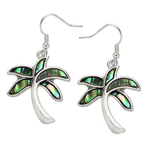 Liavy's Tropical Palm Tree Fashionable Earrings - Abalone Paua Shell - Fish Hook - Unique Gift and Souvenir