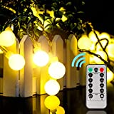 Battery Fairy Lights - Globe String Lights [Remote & Timer] 33FT/10M 100Leds 8 Modes Waterproof Battery Operated Fairy Light for Holiday Wedding Bedroom Indoor & Outdoor - Warm White