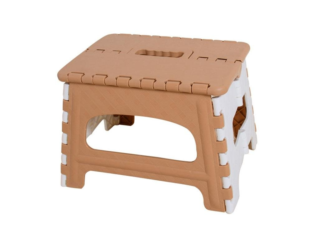 HZJ Plastic Creative Folding Stool Fishing Stool Outdoor Camping Portable Stool Three Sizes Four Colors Bathroom Small Stool Thickening , Brown , A