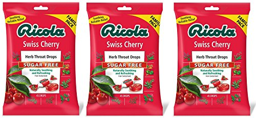 Ricola Sugar Free Family Pack Cough Drops, Swiss Cherry, 45 Count (Pack of 3)