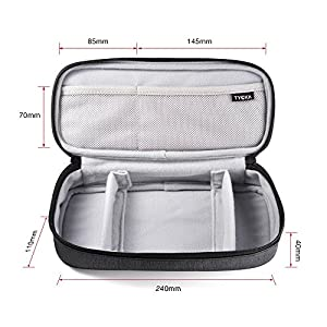 TYCKA Mini Travel Electronics Accessories Storage Bagswith Two Adjustable Dividers for Cable, Cord, USB, SD Cards, Chargers, Deep Gray