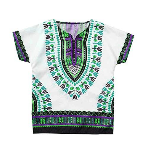 NUWFOR Boy Girl Kids Baby Unisex Bright Child Dashiki Tee Tops Summer Short Sleeve T Shirt for Toddler(Green,10-12Years) ()