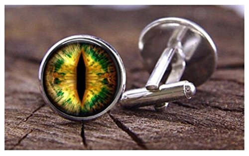 Supernatural - Yellow/Green Dragon Eye Men's Cufflinks - Steampunk Celtic cuff links- Wiccan Pentacle Castiel Geometry Dragon Green Cufflinks