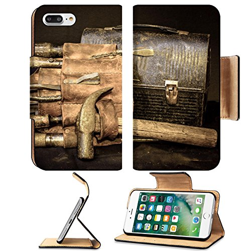 MSD Premium Apple iPhone 7 Plus Flip Pu Leather Wallet Case IMAGE ID: 35112184 Lunch break with old vintage tool belt and tools with lunch (Handyman Snacks)