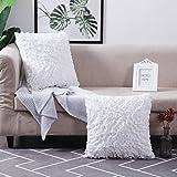 MoMA Decorative Throw Pillow Covers (Set of 2) - Pillow Cover Euro Sham Cushion Cover - White Throw Pillow Cover - Decorative Sofa Throw Pillow Cover - Square Decorative Pillowcase - White