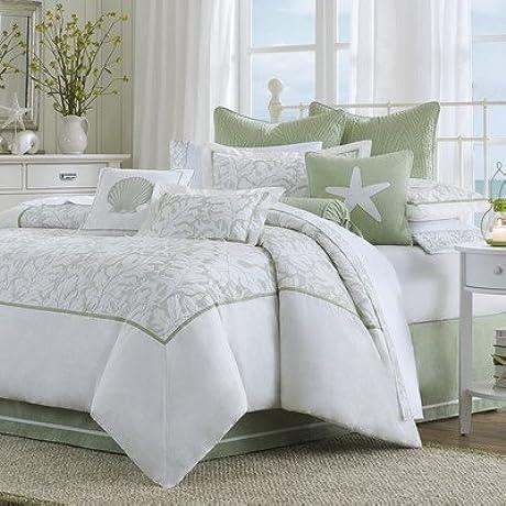 King 4 Piece Comforter Set 100 Cotton Nautical Sage Sea Leaf Embroidery Pattern Bonus Homemade Head Massage Tool For Relaxation