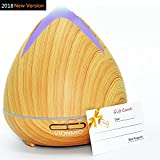 Essential Oil Diffuser,VIONMIO 400ml Cool Mist Humidifier Waterless Auto Shut Off and Timer Settings, Wood Grain Aromatherapy With 7 colors LED Light for Bedroom Home Office Baby Spa Yoga -Light Brown