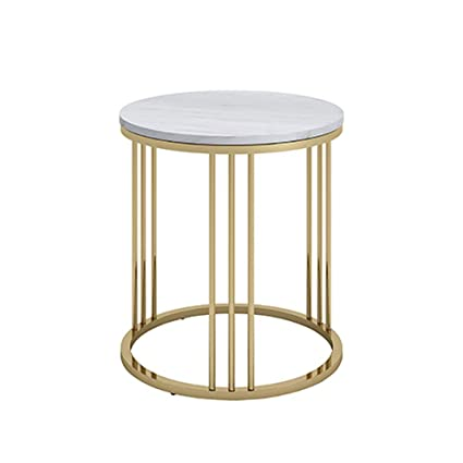 LS Ling Shi Metal Round Table,Nordic Marble Side Table Round Coffee Table  Living Room