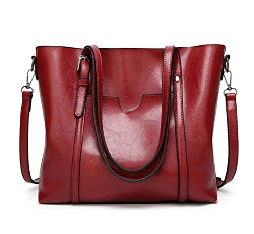 Women Shoulder Bags Zipper Handbags for Women Top Handle Bag Tote Bags by YUNS(Red) by YUNS