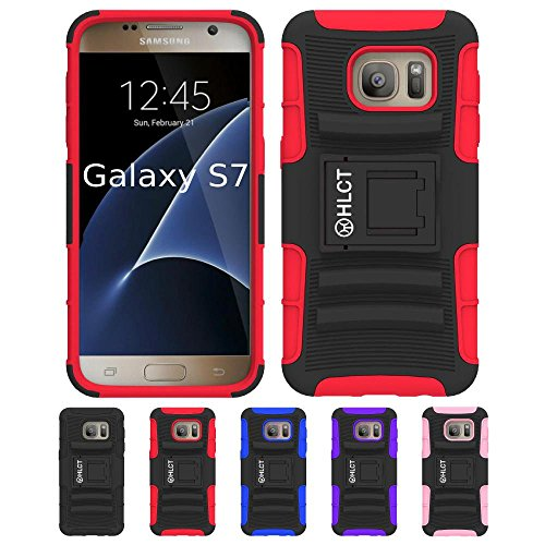 Price comparison product image Galaxy S7 Stand Case, HLCT Rugged Shock-Proof Dual Layer PC and Soft Silicone Case with Built in Kickstand for Samsung Galaxy S7 (2016) (Red)