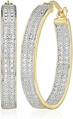 Two-Tone Diamond Accent Oval Inside/Out Hoop Earrings