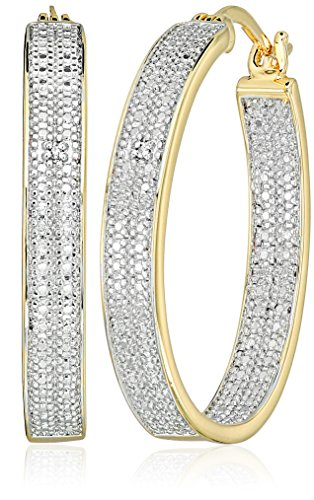 Jewelry Collection Gold (Two-Tone Diamond Accent Oval Inside/Out Hoop Earrings)