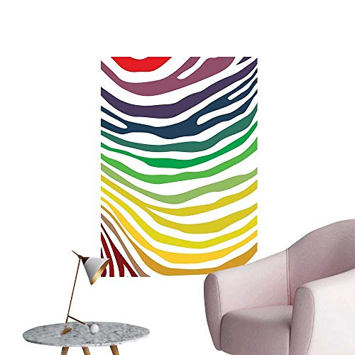 - Wall Stickers for Living Room Colorful Zebra Stripes Pattern in Cheering Rainbow Color Modern Style Art Vinyl Wall Stickers Print,24