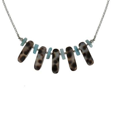Schmuck Les Poulettes - Sterling Silber Halskette Kette Lamelle Perlmutt  Getigerte und Larimar Nugget 42530e925f