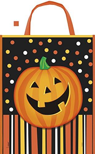 Large Plastic Smiling Pumpkin Halloween Goodie Bag, 15