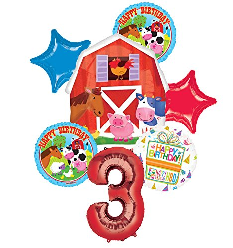 Farm Animal 3rd Birthday Party Supplies and Barn Balloon Bouquet Decorations by Mayflower Products