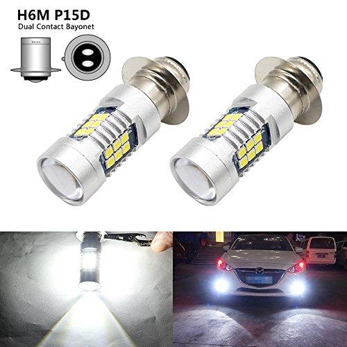 - Boodled 2x H6M P15D Type 15W High Power 3030 Chips 21SMD LED Bulb 6000k~7000k Super White Turn Signal Fog HeadLight 6000~6500K 840LM (H6M P15D)