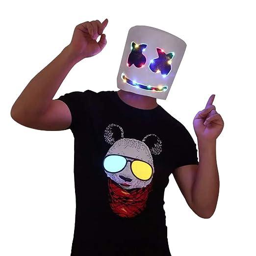 URMOSTIN LED Máscara De Marshmallow DJ, Látex Casco La ...