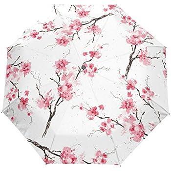 Naanle Watercolor Pink Sakura Cherry Blossom Auto Open Close Foldable Travel Umbrella