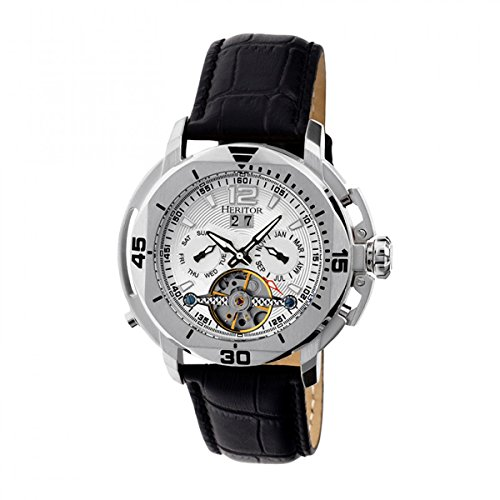 Heritor Automatic Men's Lennon Black/Silver Leather Watch