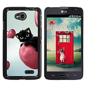 TECHCASE**Cubierta de la caja de protección la piel dura para el ** LG Optimus L70 / LS620 / D325 / MS323 ** Cat Pink Hearts Balloon Black Blue Eyes