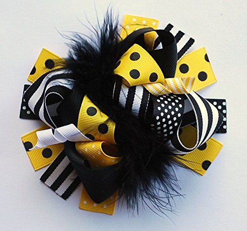 BUMBLEBEE yellow and black funky and fun hair bow clip - Bumble Bee Hair Bow