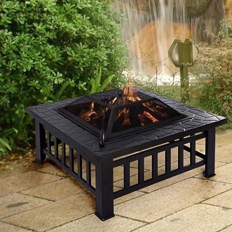 Garden Mile Jardín Hoguera Estufa De Patio Estufa Pozo De Fuego Cuadrado Brasero Mesa Azulejo Grande Negro: Amazon.es: Jardín