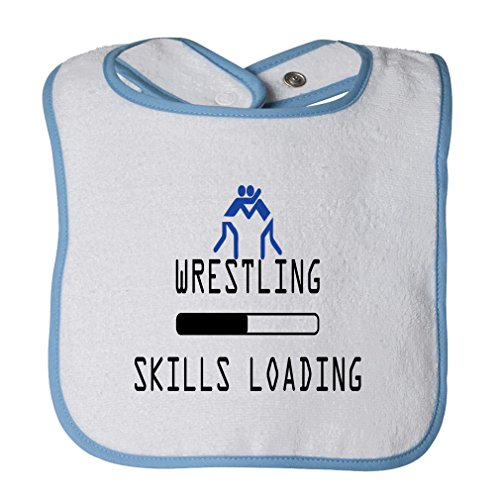 Wrestling Skills Loading Sport #2 Cotton Terry Unisex Baby Terry Bib Contrast Trim - White Blue, One Size by Cute Rascals