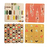 "CoasterStone AS9943 Absorbent Coasters, 4-1/4-Inch,""Retro Modern"", Set of 4"