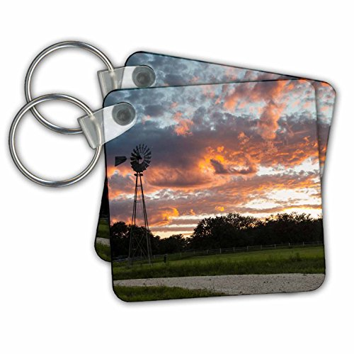 Danita Delimont - Sunsets - Clouds and windmill at sunset - Key Chains - set of 6 Key Chains - The County Block At Orange