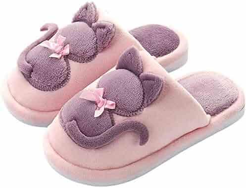4dc63bcb4d0 Boys Girls Cute Slippers Memory Foam Slide Kids Slip On Winter Warm Indoor  Fleece Shoes
