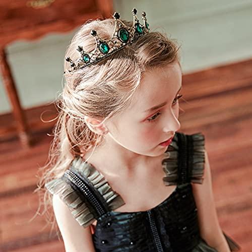 Girls Crown Tiara Metal Kids Headband Headpiece Birthday Weddding Party Crystal Hair Accessory, Small (Vintage Green)