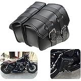 BJ Global Lot de 2 sacoches de moto latérales en cuir PU pour Harley Davidson Sportster XL883XL1200