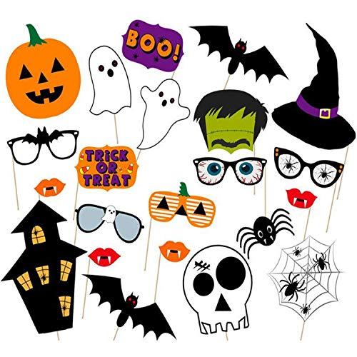 Halloween Photo Booth Props DIY Kit Scary Party Supplies Funny Party Frankenstein Lips Skull Glasses Wizard Hat Halloween Party Decorations for kids -