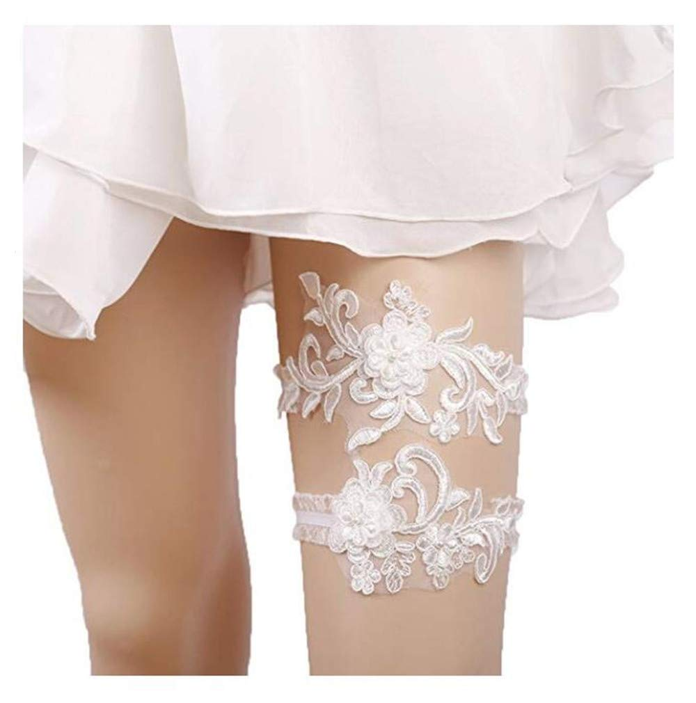 Bhwin Rhinestones Lace Bridal Garter Belt Set Vintage Beaded Wedding Garter (07)