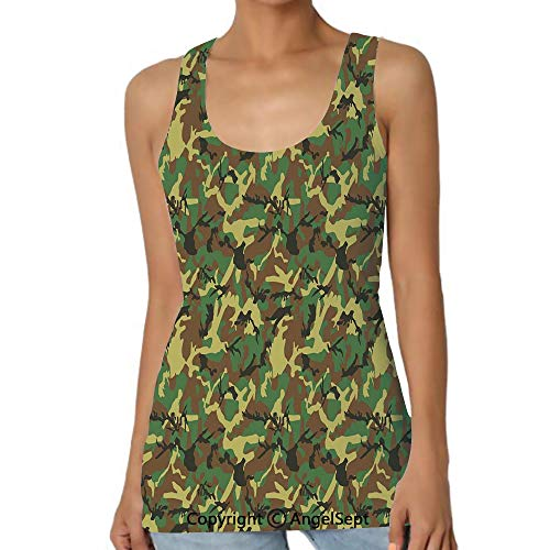 - Woodland Camouflage Pattern Abstract Army,Casual Tank Tops 3D Printed Sleeveless Workout Scoop Neck