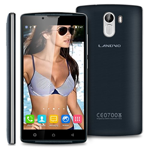 Landvo XM100S 3G Smartphone 5.0'' Zoll ohne Vertrag Dual SIM Quad Core Android 5.1 IPS Screen 1.3GHz 1GB RAM+8GB ROM Smart Wake WIFI Handy Dunkelblau