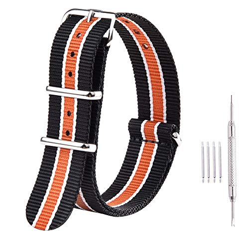 Ritche Premium NATO Strap 18mm 20mm 22mm Nylon Replacement Watch Band for Men Women (Black/White/Orange, 18mm)