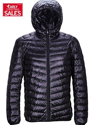 Men's Winter Lightweight Packable Down Jacket Outwear Puffer Coats (X-Large, Black)