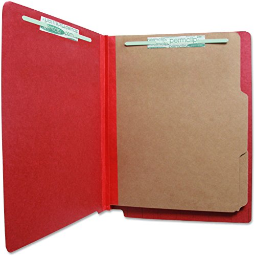 Red End Tab Folder (Pressboard End Tab Classification Folder with 6 Permclip Fasteners and 2 Natural Kraft Dividers- Ruby Red, Letter Size (15/Box))