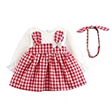 Dinlong Baby Girls Long Sleeve Plaid Checked Party Princess Dress Rabbit Print+Headband Outfits (18-24 Month, Pink)