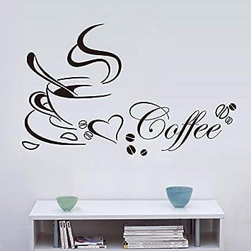 CALISTOUK Wandaufkleber kaffee Wandsticker Schlafzimmer Modern Küche ...