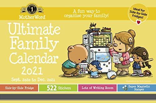 2021 MotherWord Ultimate Family Magnetischer Kalender zum Aufhängen, 16 Monate, Sept 2020-Dez 2021, 38,1 x 24,1 cm, Englisch, Mittlere Seite by Side Version (MWMKT12821)