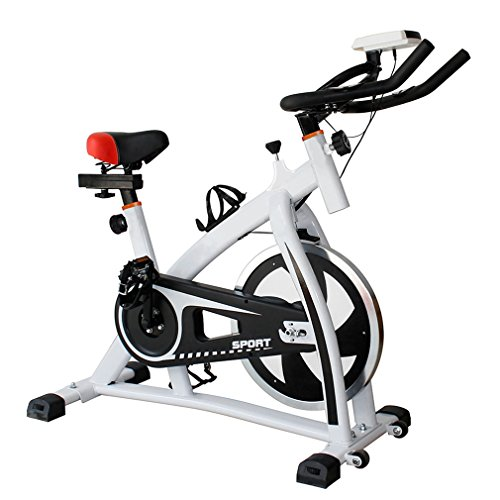 Pro Indoor Cycling Bike by Coldcedar | Upright Exercise Bike with LED Monitor Adjustable Resistance Fintess Cycling Machine Cardio Aerobic Equipment Workout Gym (S300, White) For Sale