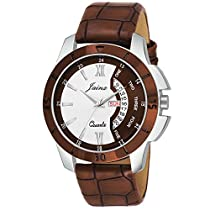 Jainx Brown Day and Date Round Analogue Watch for Mens & B
