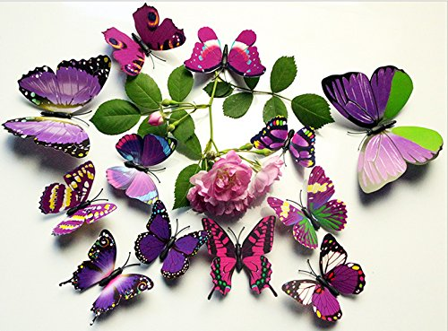 FLY SPRAY 3D Butterfly Removable Mural Wall Stickers Wall Decal For Home Decor (FBA) (Appliques Wall Sconce)