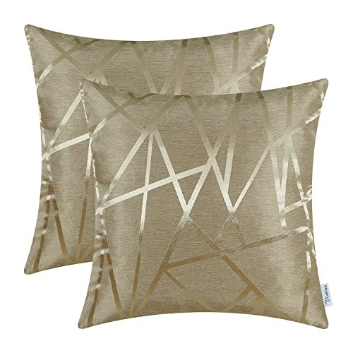 CaliTime Pack of 2 Throw Pillow Covers Cases for Couch Sofa Home Decor Modern Shining & Dull Contrast Triangles Abstract Lines Geometric 18 X 18 Inches Amber Gold