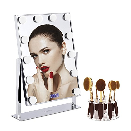 Makeup Mirror Large 12 Big Led Bulbs (2Extra Bulbs) Hollywood Style Vanity Mirror with 5x Magnifier and Clock -Tabletops 10 Hole Oval Makeup Brush Holder Drying Rack Touch Screen Adjustable - For Best Oval Face Aviators