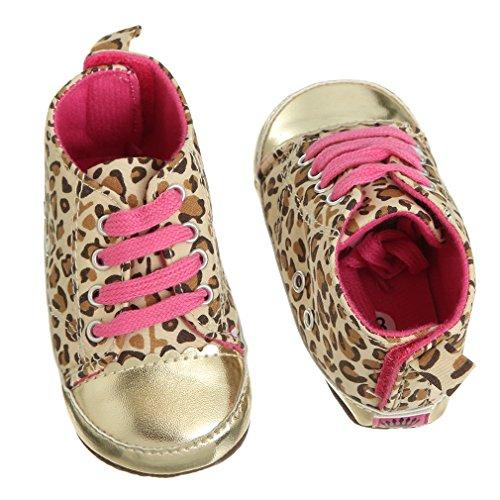 EOZY Babyschuhe Leopard Kinder Sneaker Neü Gold Soft Sohle 12-18 Monate Cirka 13cm Länge Laufsohle